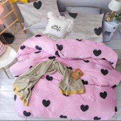 Евро постельное белье Бязь Gold - Сердечка на розовом