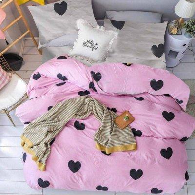 Постельное белье Бязь Gold - Сердечка на розовом