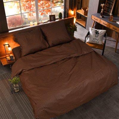 Двуспальное постельное белье Бязь Gold - Коричневый страйп
