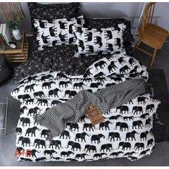 Двуспальное постельное белье Бязь Gold - Черные слоны