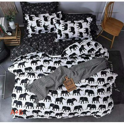 Семейное постельное белье Бязь Gold - Черные слоны