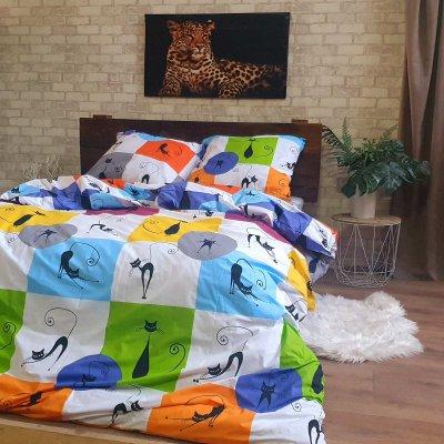 Полуторное постельное белье Бязь Gold - Ночная кошечка