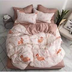 Евро постельное белье Бязь Gold - Осенний фламинго