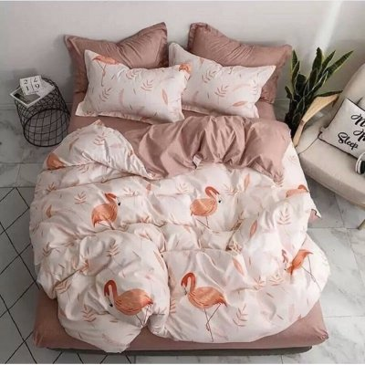 Двуспальное постельное белье Бязь Gold - Осенний фламинго