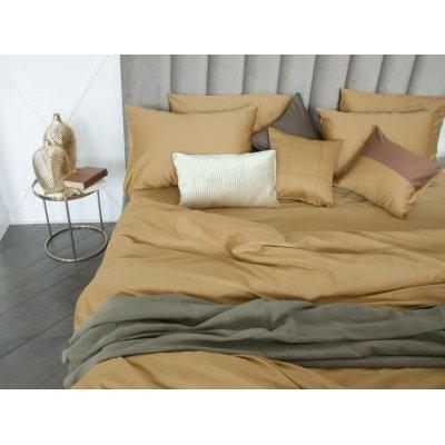 Двуспальное однотонное постельное белье Бязь Gold - Французский бежевый