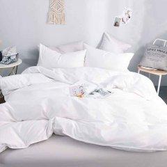 Двуспальное постельное белье Бязь Gold - Белое однотонное