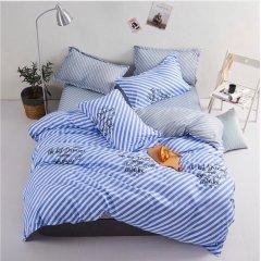 Двуспальное постельное белье Бязь Gold - Диагональ бирюза