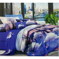 Семейное постельное белье София 3D (микросатин) - Неоновые лебеди