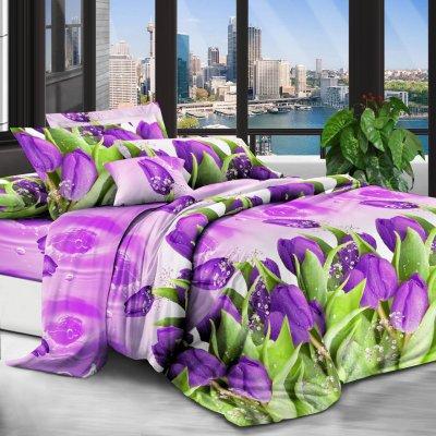 Двуспальное постельное белье Бязь Gold - Расцвели тюльпаны