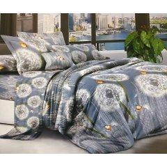 Полуторное постельное белье София 3D (микросатин) - Воздушные одуванчики на синем