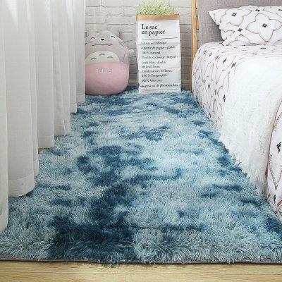 Мягкий пушистый коврик с высоким ворсом - Синий