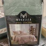 Летний евро комплект с вафельным покрывалом Modalita – Мята