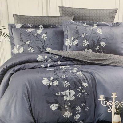 Евро постельное белье Cotton Satin Lines Style - Evan indigo