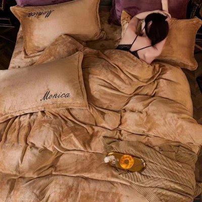 Постельное белье велюровое  Monica - Светло - коричневое