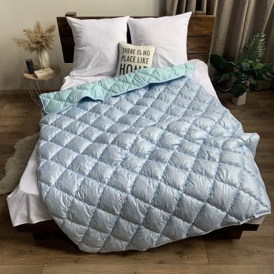 Одеяло зима микрофибра напол. холлофайбер ODA (голубое)