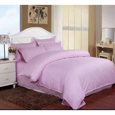 Постельное белье Страйп Сатин (100% хлопок) - Розовый (евро)