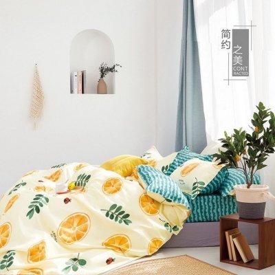 Двуспальное постельное белье Бязь Gold - Сочный апельсин