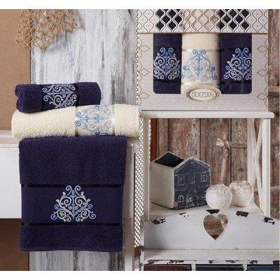 Набор махровых полотенец Gulcan - Темно - синее