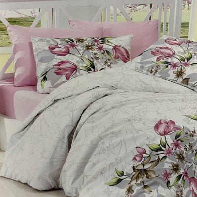 Полуторное постельное белье First Choice Ranforce - Riella Pink