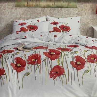 Евро постельное белье First Choice Ranforce  (100% хлопок) - Bozca Red