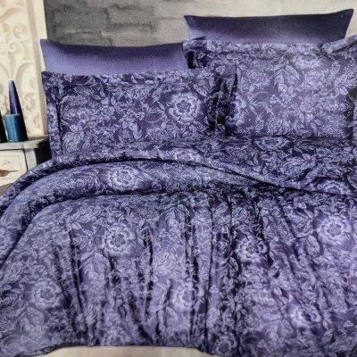 Полуторное постельное белье Cotton Satin - Advina Indigo