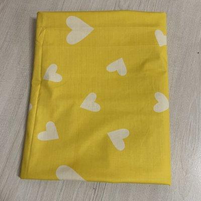 Двуспальная простынь Бязь Gold - Сердечки на желтом