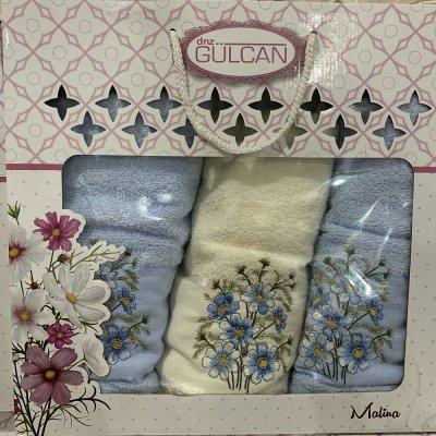Набор махровых полотенец Gulgan (3 шт) - Malina(голубой)