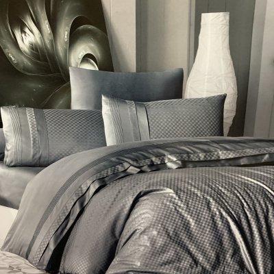 Турецкое постельное белье DELUX Satin Square Style - Fume