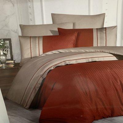 Турецкое постельное белье DELUX Satin Square Duet - Cinnamon & Mink