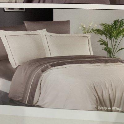 Турецкое постельное белье DELUX Satin - Ivory & Mink