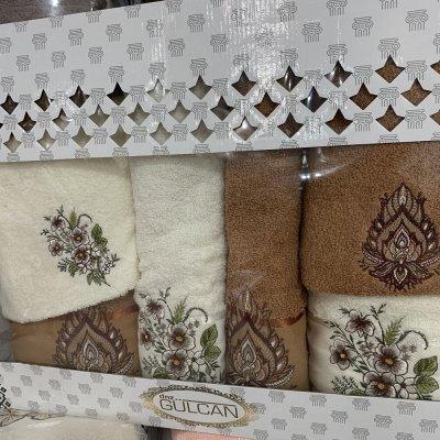 Набор махровых полотенец Gulgan (6 шт) - Белый и Коричневый