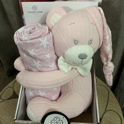 Плед в кроватку (коляску) с мишуткой в шапочке - Розовый