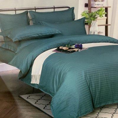 Семейное постельное белье Страйп Сатин Премиум (100% хлопок) - Изумрудный