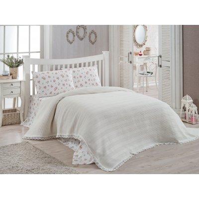 Комплект постельного белья с вафельным покрывалом DO&CO - Krem