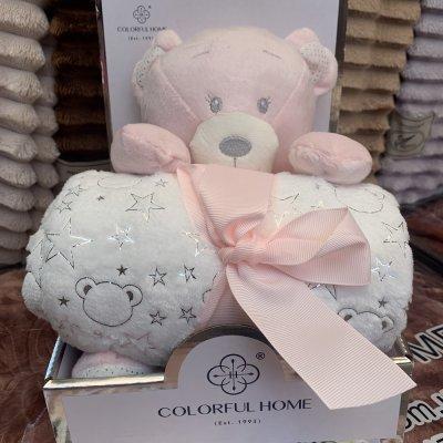 Плед в кроватку (коляску) с мягкой игрушкой - Розовый