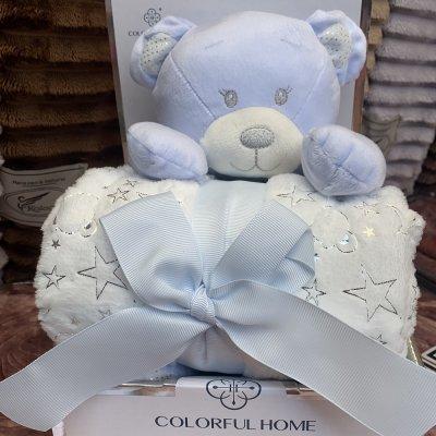 Плед в кроватку (коляску) с мягкой игрушкой - Голубой