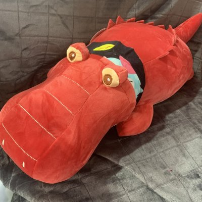 Игрушка - плед подушка - Крокодил красный
