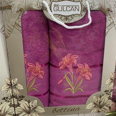 Набор махровых полотенец Gulgan (2 шт) - Bettina(малиновый)