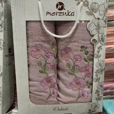 Набор махровых полотенец Merzuka (2 шт) - Orkide (розовый)