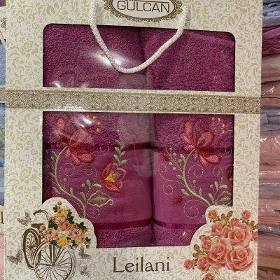 Набор махровых полотенец Merzuka (2 шт) - Leilani(малиновый)
