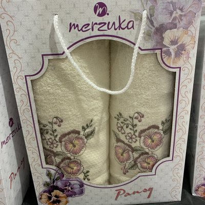 Набор махровых полотенец Merzuka (2 шт) - Pansy (молочный)