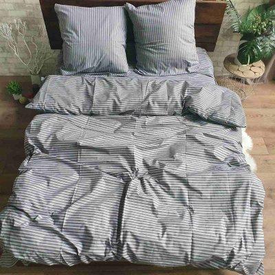 Полуторное постельное белье Бязь Gold - Серая полоска