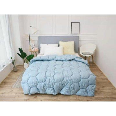 Одеяло зима ткань Микрофибра наполнитель Холлофайбер - Соты - 145х210 (голубое)