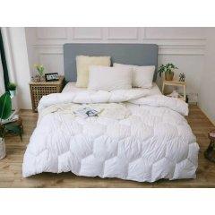 Одеяло зима ткань Микрофибра наполнитель Холлофайбер - Соты - 195х210 (белоснежное)