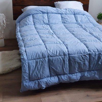 Одеяло тик Лебединый пух(искусственный пух) - 195х210 - голубое
