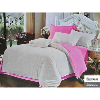 Евро однотонное постельное белье Фланель - Бежево-розовое