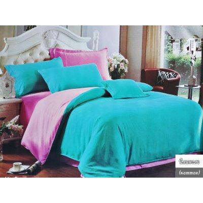 Евро однотонное постельное белье Фланель - Голубо-розовое