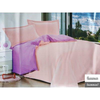 Евро однотонное постельное белье Фланель - Розово-сиреневое