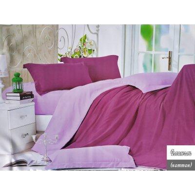Евро однотонное постельное белье Фланель - Бордово-розовое