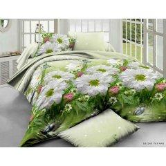 Двуспальное постельное белье Бязь Gold - Три ромашки